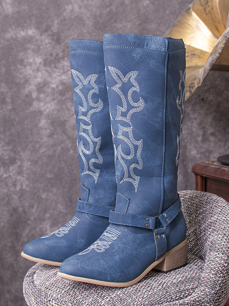 Plus Size Women Casual Embroidered Pointed Toe Comfortable Harness Boots