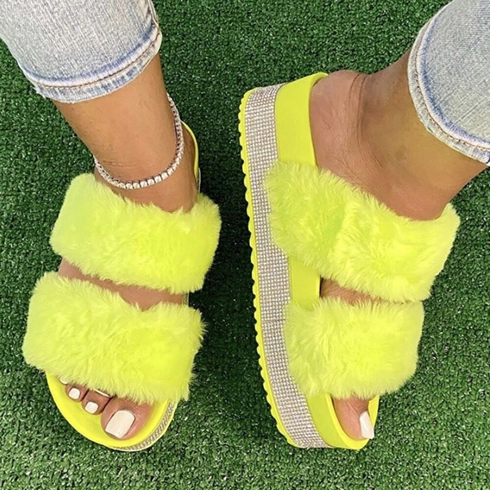 Women's Large Size Solid Color Side Rhinestone House Furry Slippers