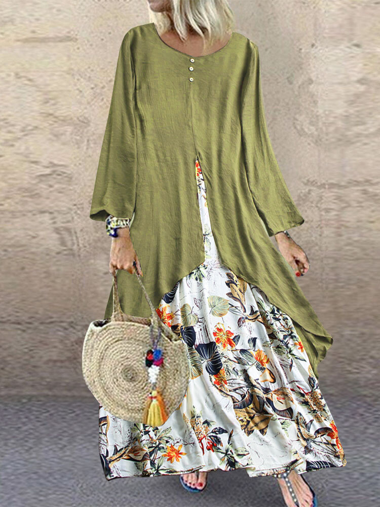 Vintage Patchwork Print Long Sleeve Plus Size Dress with Pockets