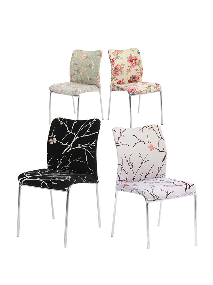 1 Pcs Perennial Flower Printed Universal Stretch Chair Cover Home Wedding Chair Slipcover Decor