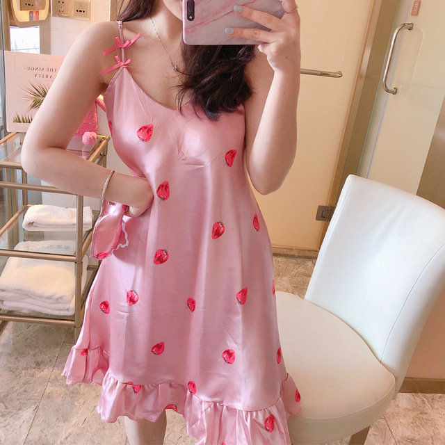 Strap Pajamas With Chest Pad Nightdress Ice Silk Thin Section Home Service