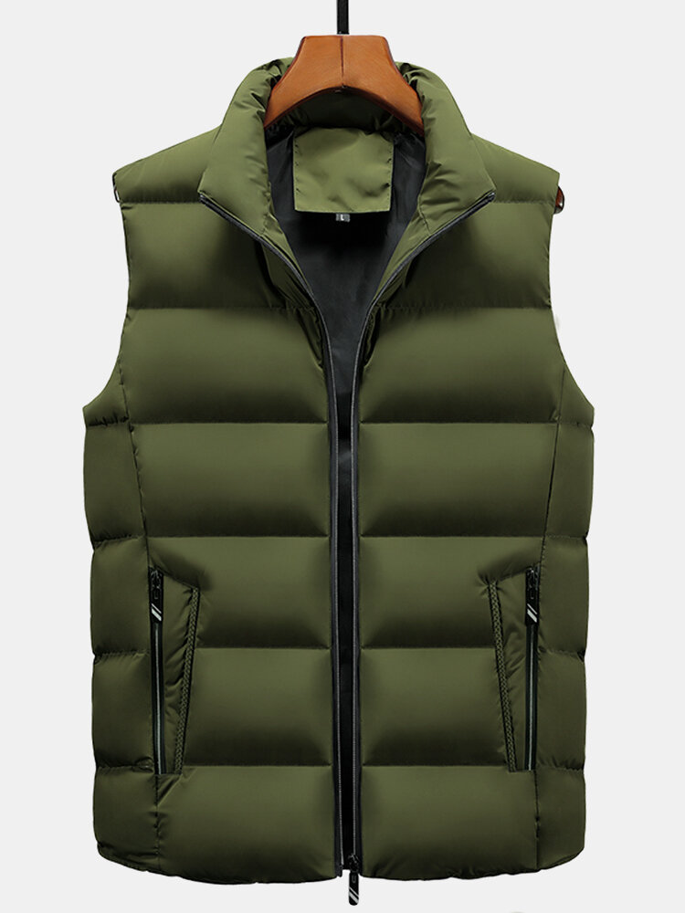 Mens Solid Zip Up Stand Collar Warm Padded Gilet Vests With Pocket
