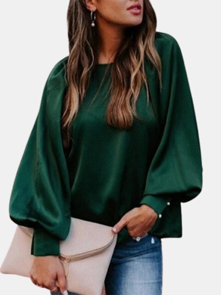 Solid Color Bubble Sleeve O-neck Plus Size Blouse