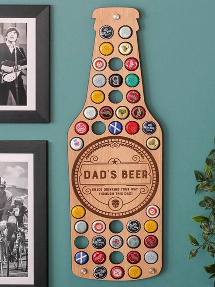 Father's Day Gift DAD Wine Bottle Cap Display Map Beer Collection Holder Unique Design Art Wall Decor