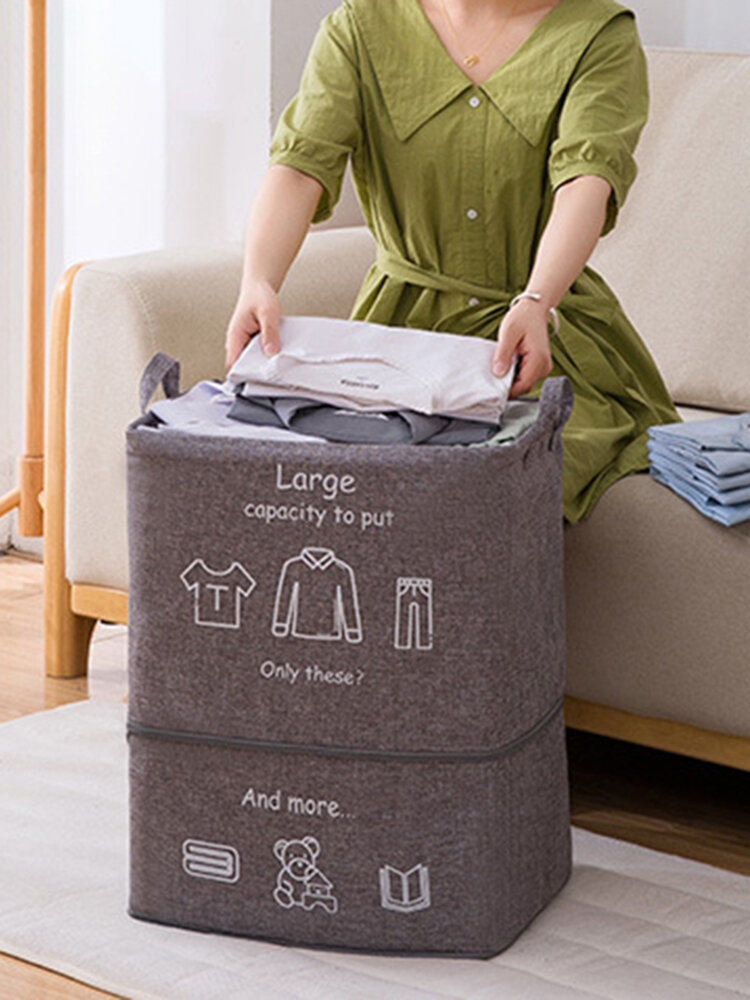 Foldable Dirty Clothes Blue Giant Toy Storage Bag Quilt Storage Frame With Zipper Storage Bag