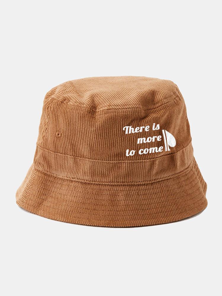 Unisex Corduroy Solid Letter Slogan Half Heart Print Fashion Sunscreen Bucket Hat