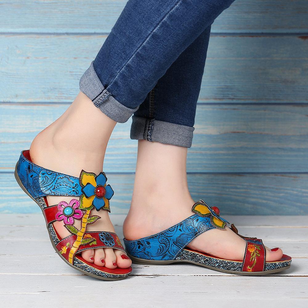SOCOFY Bohemia Genuine Leather Splicing Hand Painted Floral Adjustable Hook Loop Soft Sandals
