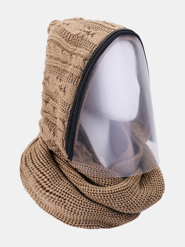 Men & Women Detachable Keep Warm Dustproof Zipper Neck Protection Knitted Face Mask Scarf
