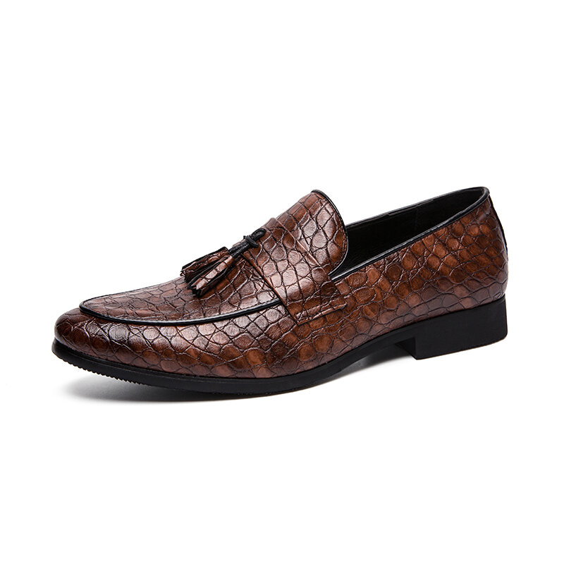 Mens Embossing Tassel Decor Comfy Wearable Casual Formal Dress Loafers