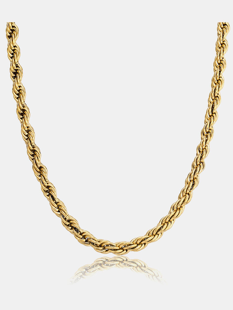 Trendy Hip Hop Twist Chain Stainless Steel Necklace