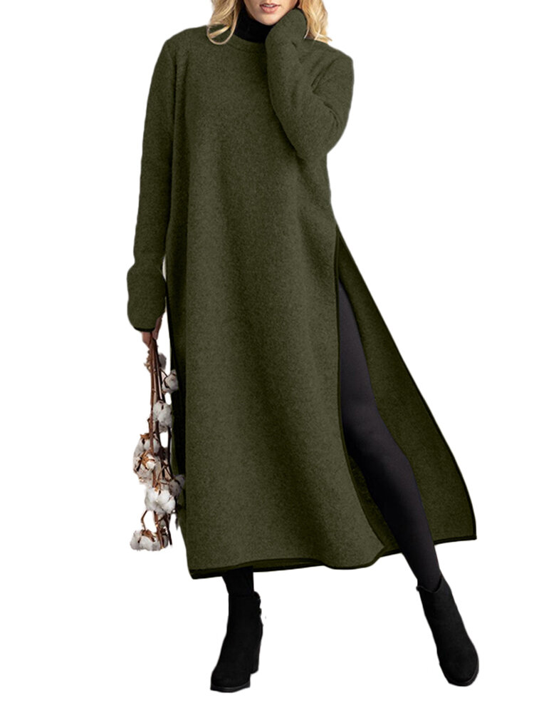 Solid Color Splited Long Sleeve O-neck Casual Dress For Women
