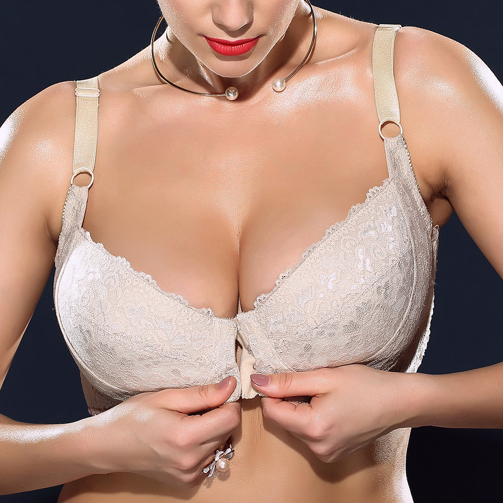 1fa5e3aa3567 Sexy H Cup Front Closure Gather Embroidery Plus Size Push Up Thin Bra By  Newchic - NewChic