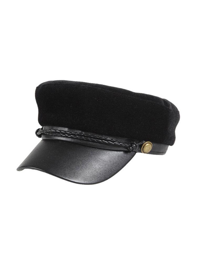 Women Patchwork Velvet French Elegant Style Beret Cap Flag Hat Navy Cap Ourdoor Cute Cap