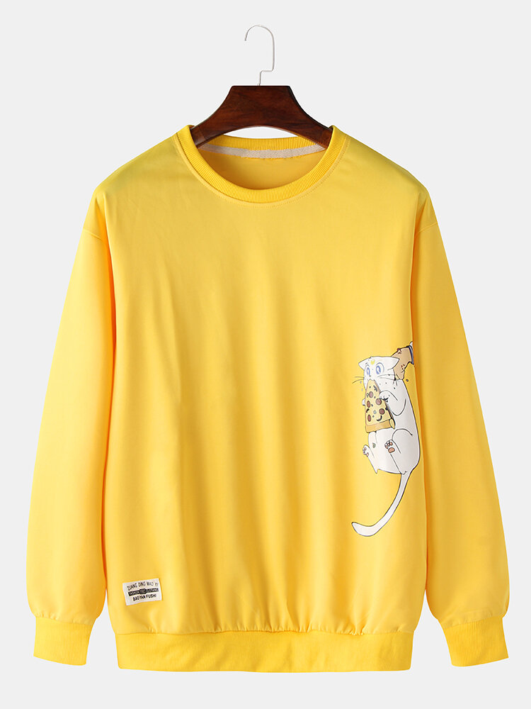 Mens Cotton Cartoon Cat Printing Applique Relaxed Fit Crew Neck Sweatshirts