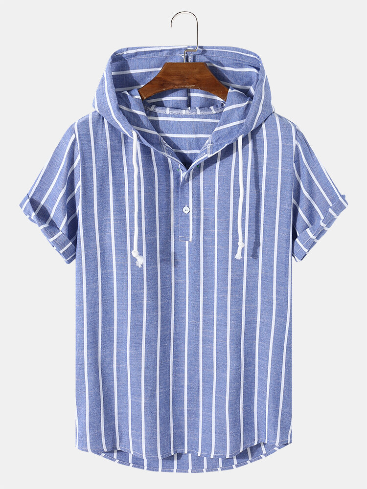Mens Plain Striped 100% Cotton Short Sleeve Hoodie Casual Hooded T-Shirts