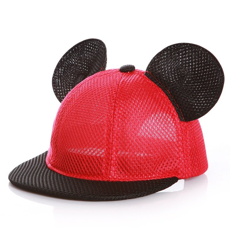 子供大人夏通気性かわいいミッキーイヤーキャップ屋外カジュアル旅行メッシュ野球帽子