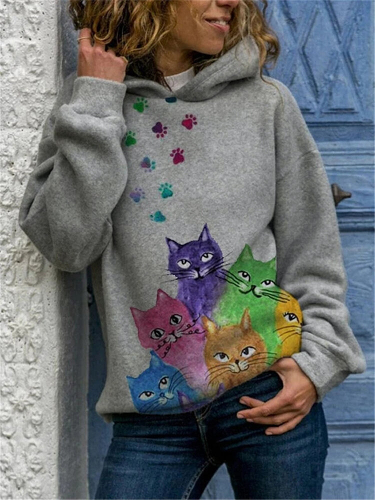 Multi-color Cat Print Long Sleeve Casual Hoodie For Women