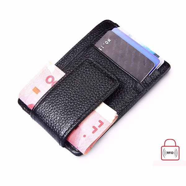 RFID Antimagnetic Woman Man Purse Wallet Cow Leather Card Wallet 3 Card Holders (SKU527340) photo