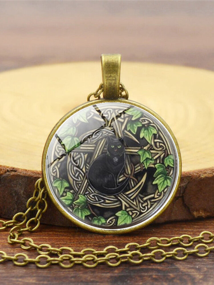 Vintage Glass Printed Women Necklace Black Cat Divination Pendant Sweater Chain Jewelry Gift