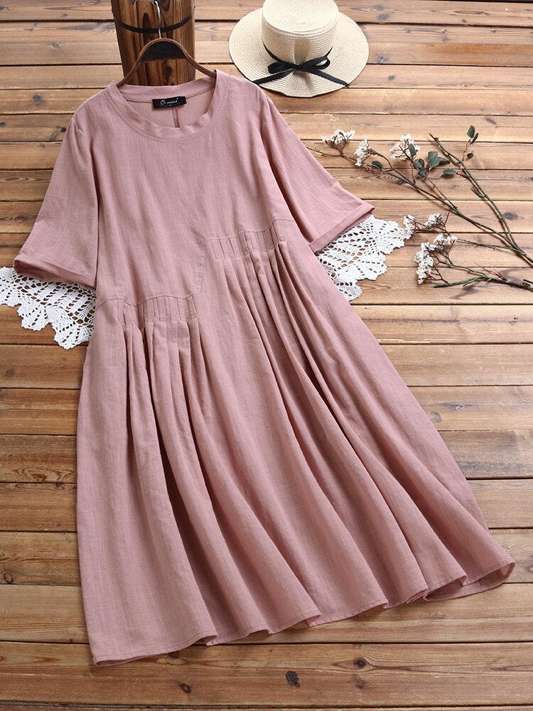 Casual Pleated Solid Color Crewneck Plus Size Dress
