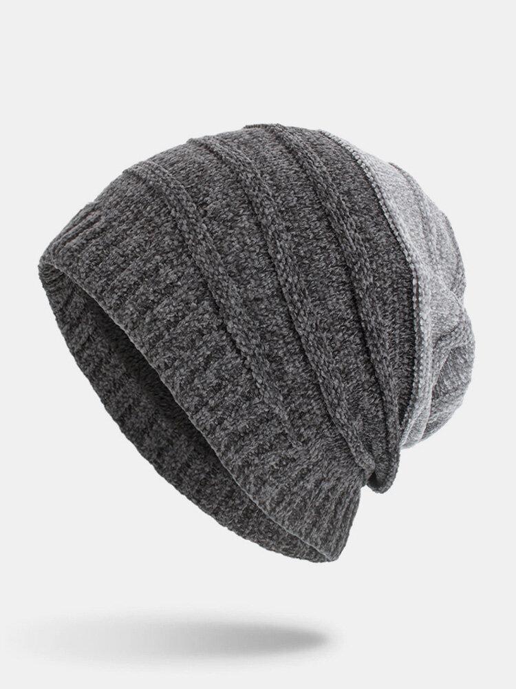 मेन विंटर Plus मखमली धारीदार पैटर्न आउटडोर लंबे बुना हुआ गर्म बेनी टोपी