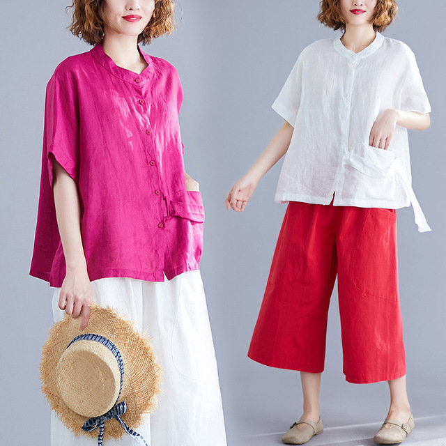 Cotton And Linen Suit Loose Large Size Short-sleeved Shirt Shirt + Seven-point Wide-leg Pants Two-piece