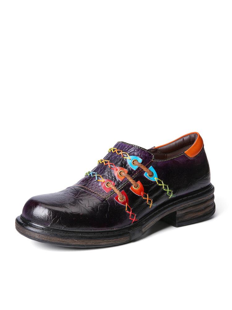 Socofy Retro Ethnic Loafers Chaussures Imprimé Relief Patché Coutures En Cuir Côté Fermeture Éclair Appartements