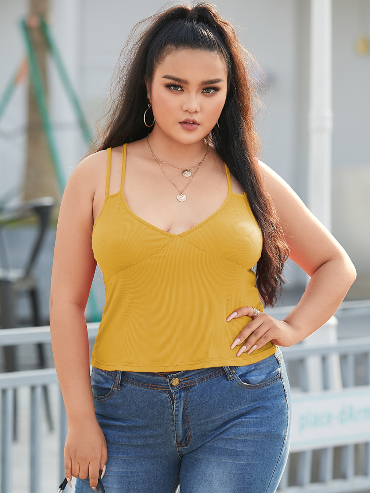 Solid Color Straps Backless Plus Size Tank Top