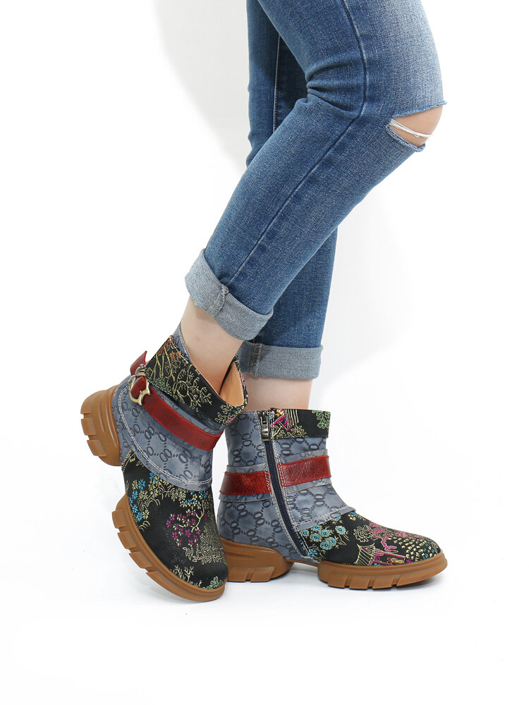 SOCOFY Genuine Leather Embroidery Splicing Comfy Round Toe Casual Short Boots