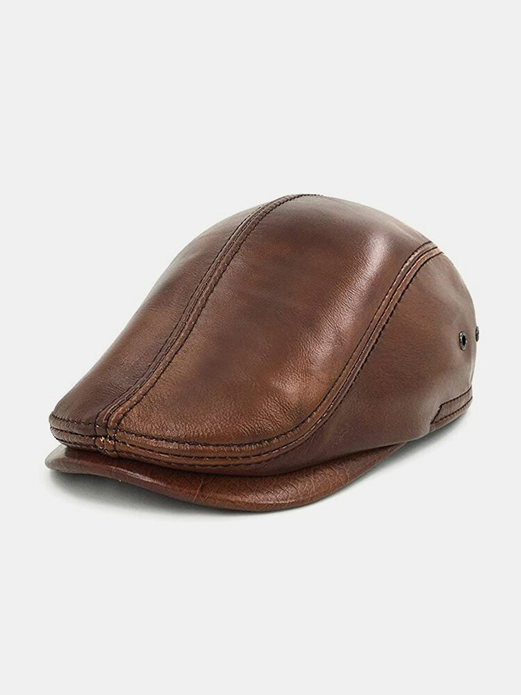 Men Genuine Leather Retro Casual Solid Color Leather Forward Hat Beret Hat