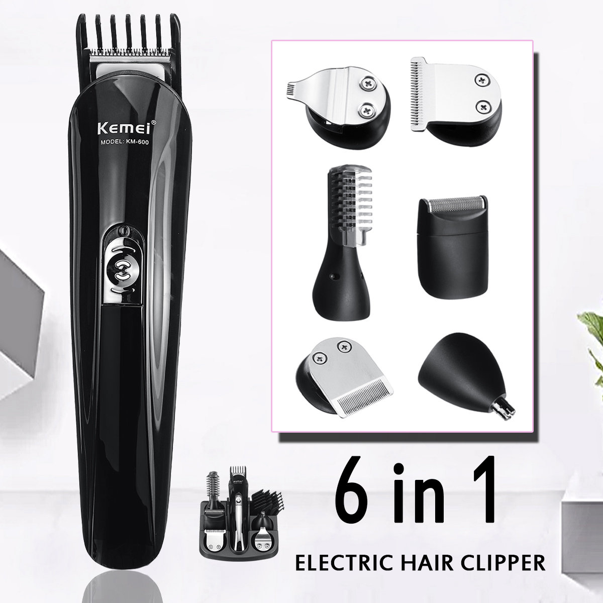 6-In-1 Multi-Function Hair Trimmer Nose Hair Clipper Rechargeable Professional Hair Trimmer