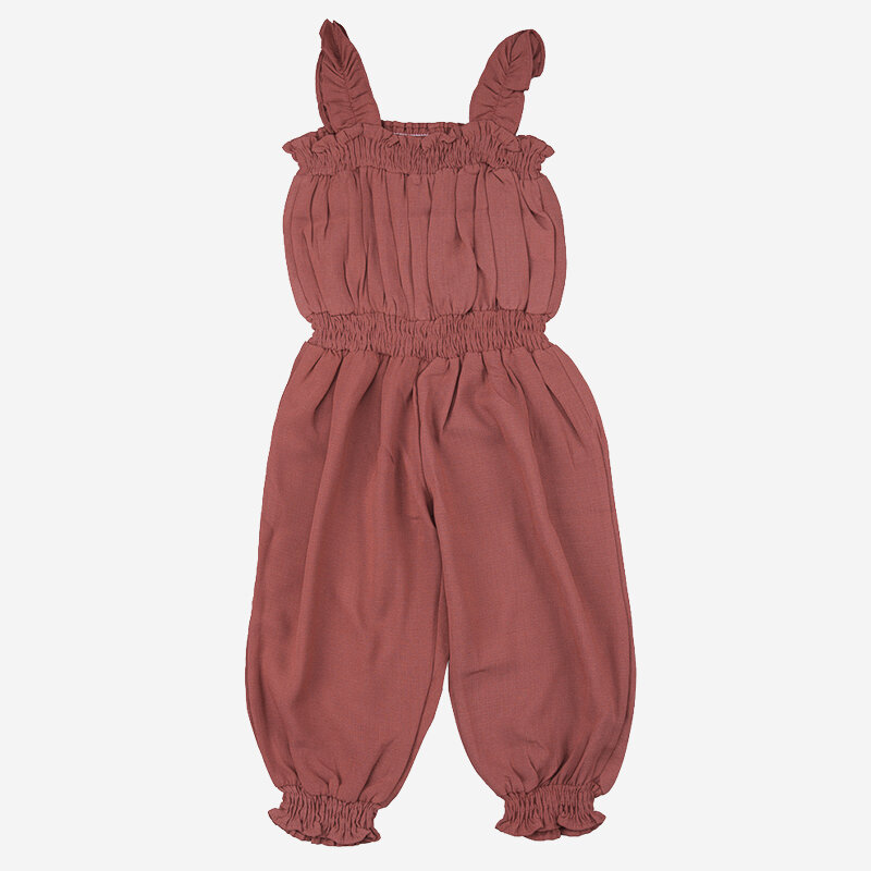 Girl's Solid Color Ruffled Sleeveless Casual Jumpsuit For 1-5Y