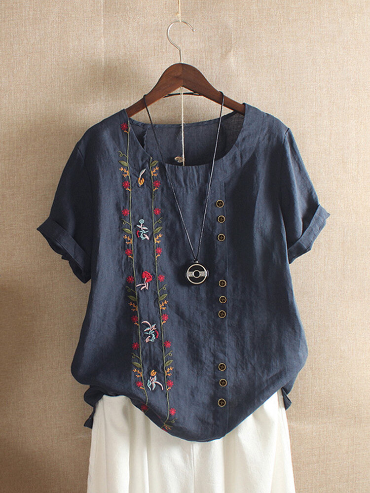 Vintage Embroidery O-Neck Short Sleeve Button T-shirt