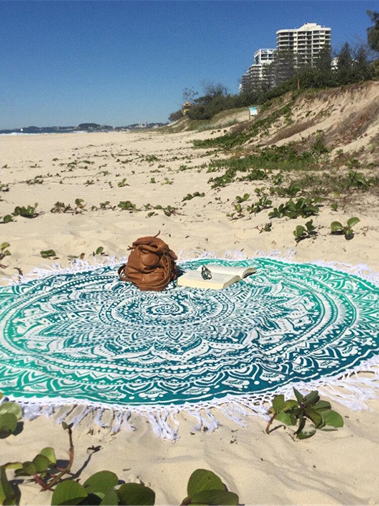 150cm Europäischer Stil Polyesterfaser Strand Yoga Tuch Rundes Bettuch Wandteppich Tischtuch