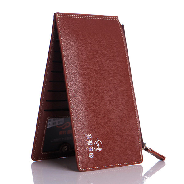 PU Leather Multi-function Wallet Double Zipper 15 Card Slots Phone Bag For Men