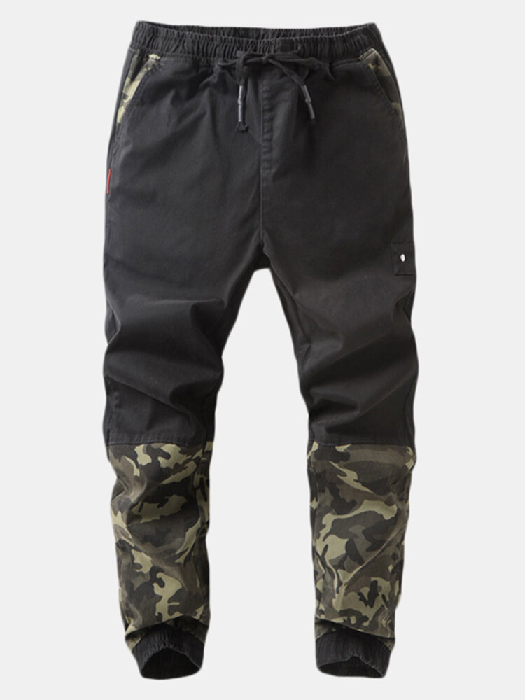 Men's Camouflage Patchwork Drawstring Waist Casual Sports Jogger Pants