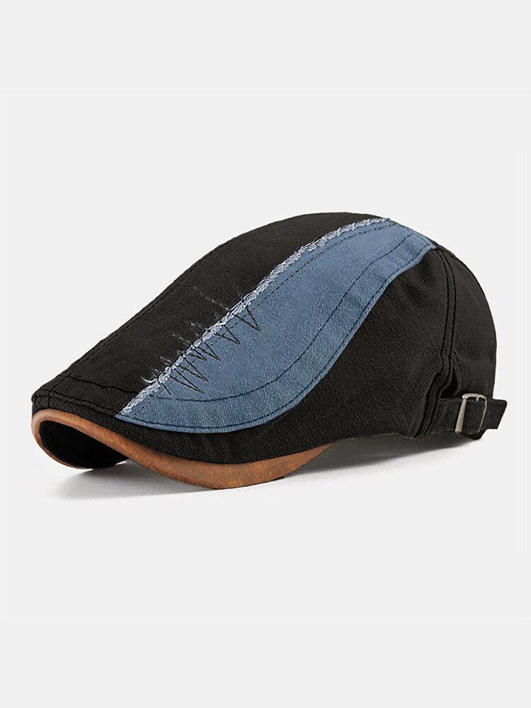 Collrown Men Cotton Patchwork Contrast Color Stitching Beret Flat Cap