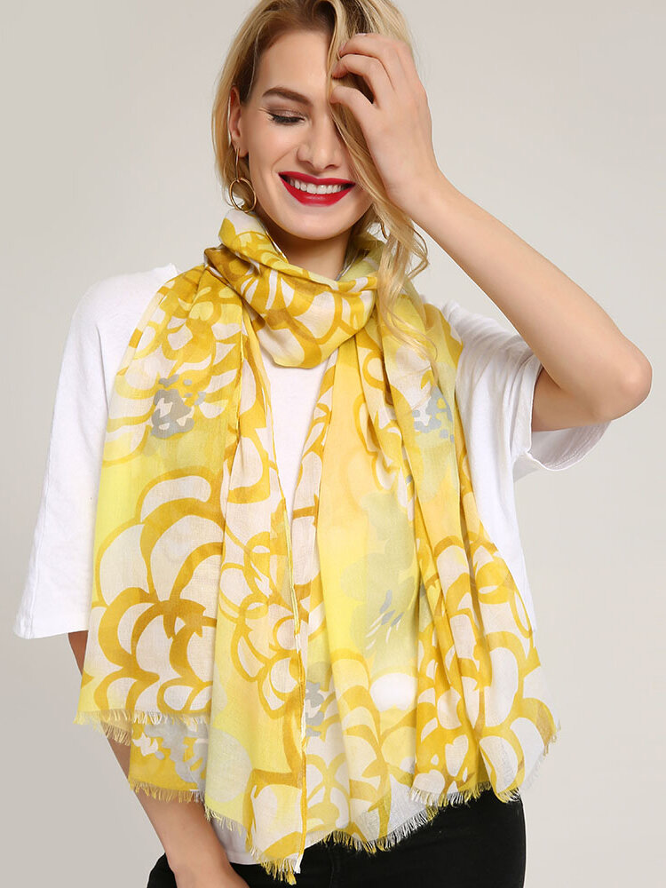 Women Sunmmer Print Flower Ethnic Long Scarf Soft Sunscreen Worsted Fabric Shawl Scarves