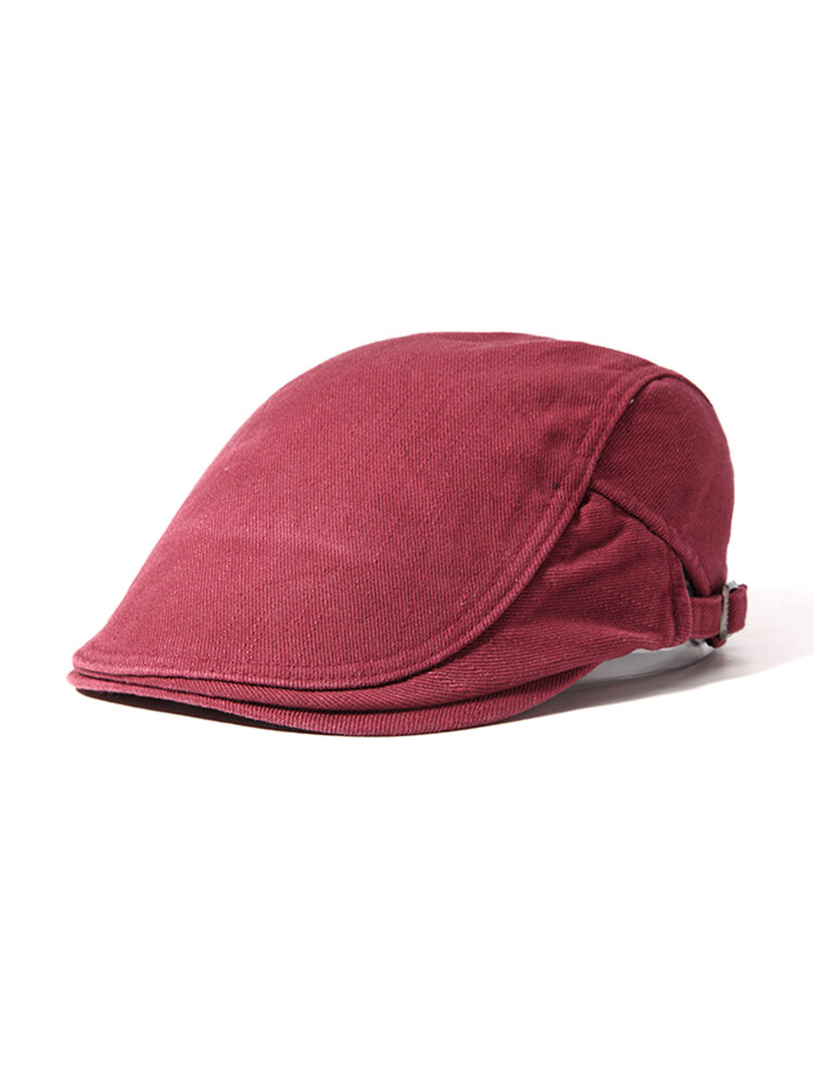 Men Women Cotton Beret Cap Pure Color Hats Casual Windproof Warm Forward Cap