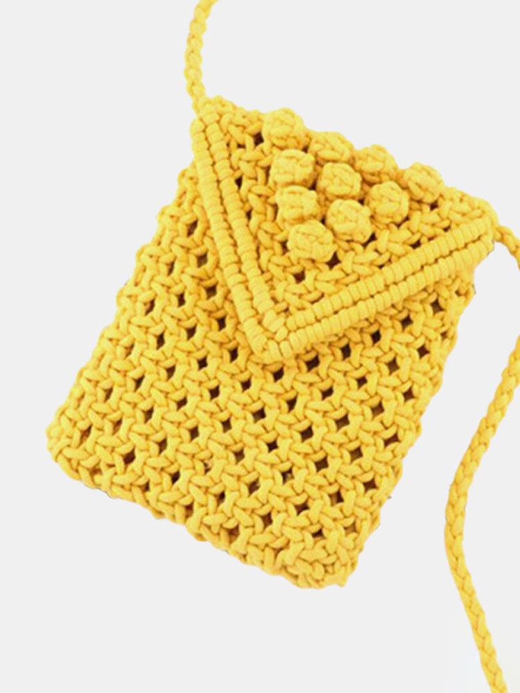 Women Straw Solid Flap Phone Bag Crossbody Bag
