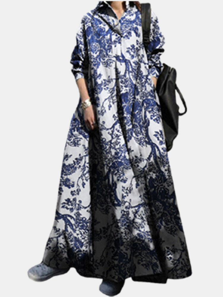 Print Lapel Long Sleeve Plus Size Casual Dress with  Pockets