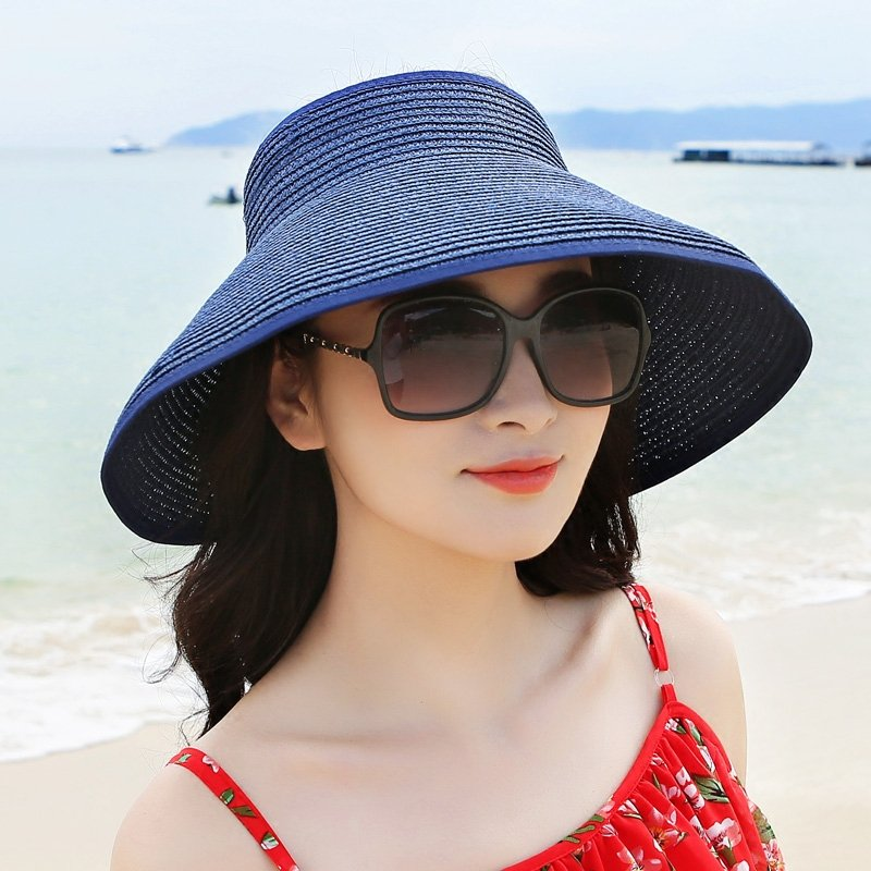 be540e18 ... Women Foldable Bowknot Empty Top Wide Brim Beach Sun Straw Hat Outdoor  Summer Travel Visor Cap. Share Get Coupons