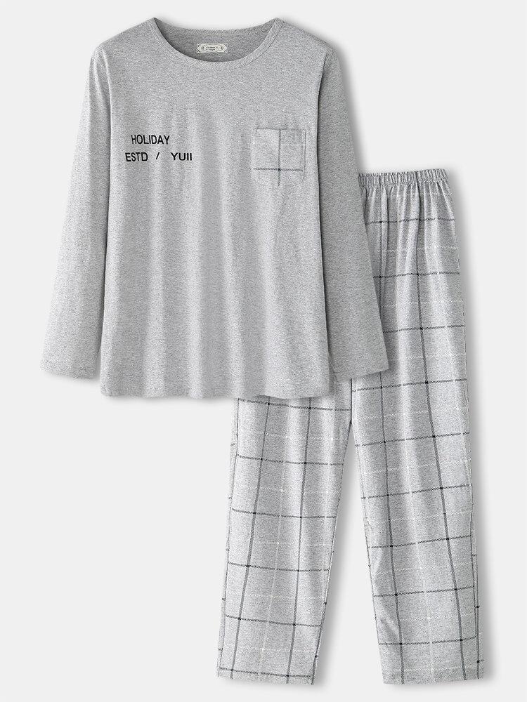 Mens 100% Cotton Plain Round Neck Plaid Pants Two-Piece Home Loose Pajamas Set