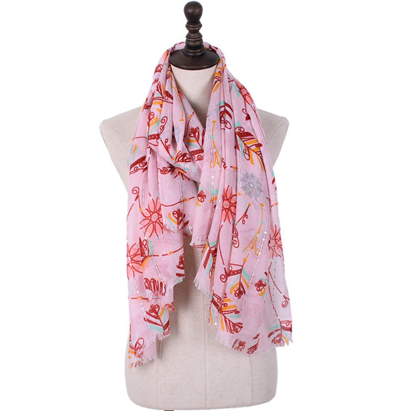 Ladies Feather Printted Cotton Voile Shawl Scarf Winter Warm Luxury Brand Long Scarves For Women