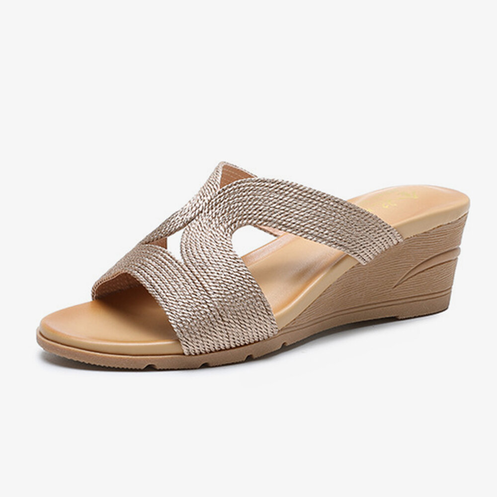 Bohemian Woven Hollow Comfy Wearable Casual Wedges Slippers For Women