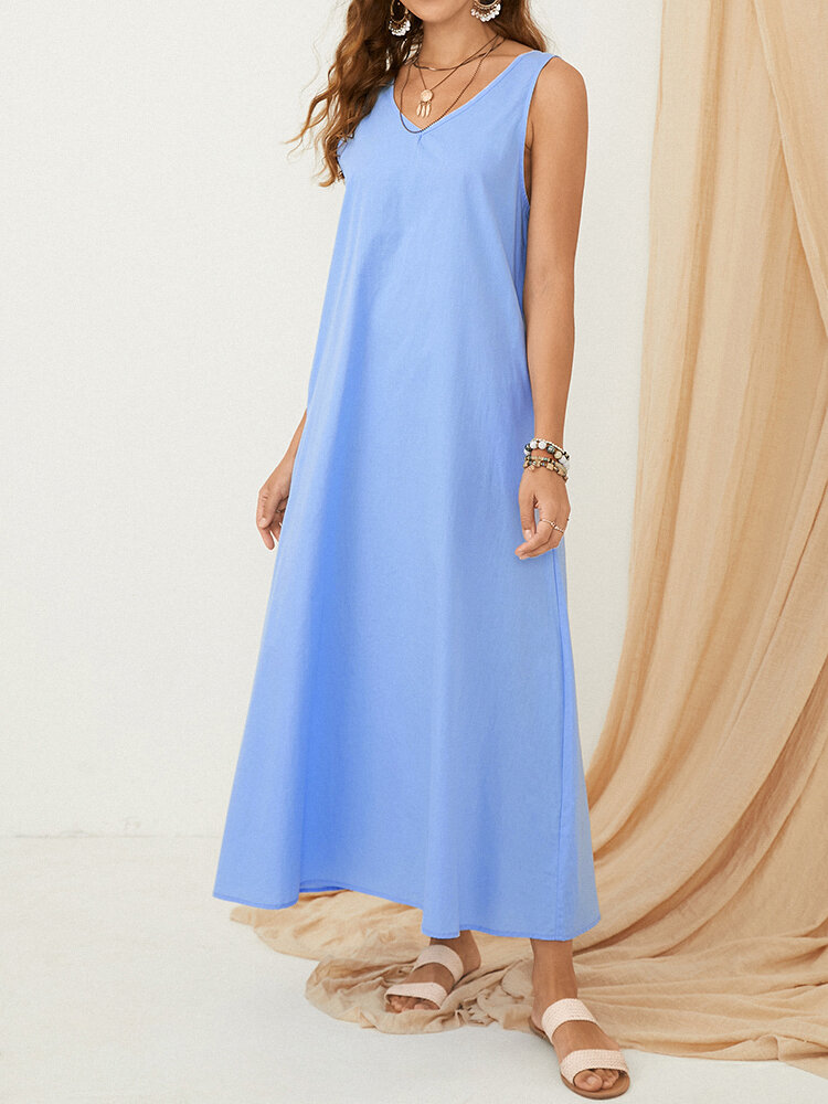 Solid Color V-neck Sleeveless Maxi Dress with Pockets