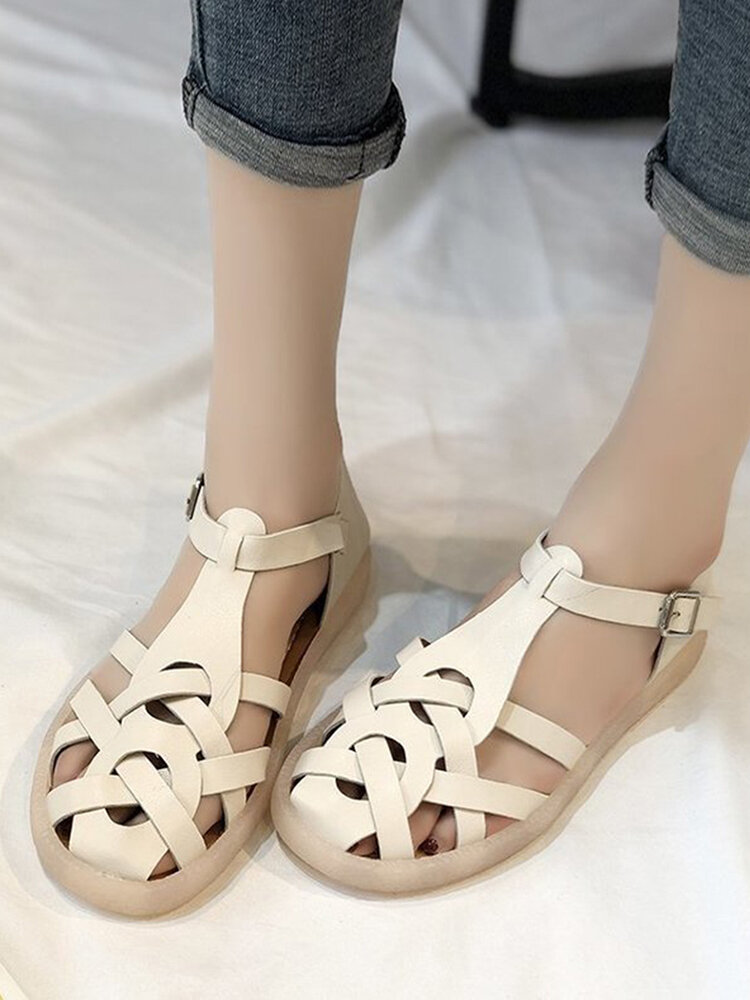 Large Size Women Comfy Solid Woven Ribbon Fisherman Sandals