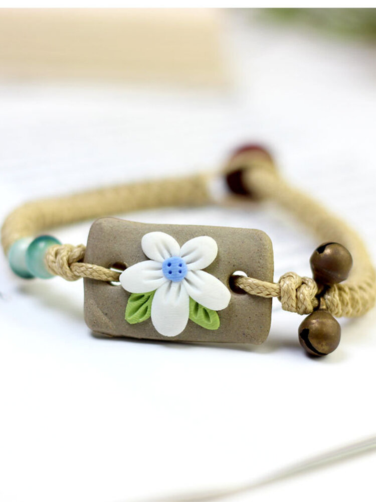 Vintage Hand-kneaded Flowers Rectangular Ceramic Bracelets