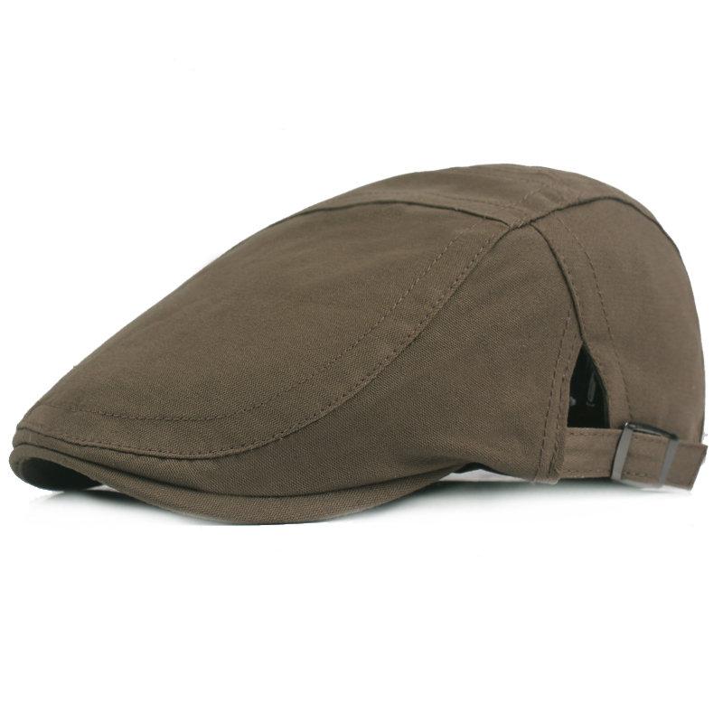 Mens Adjustable Beret Caps Casual Outdoor Breathable Sunshade Forward Cap Solid Flat Berets Hat