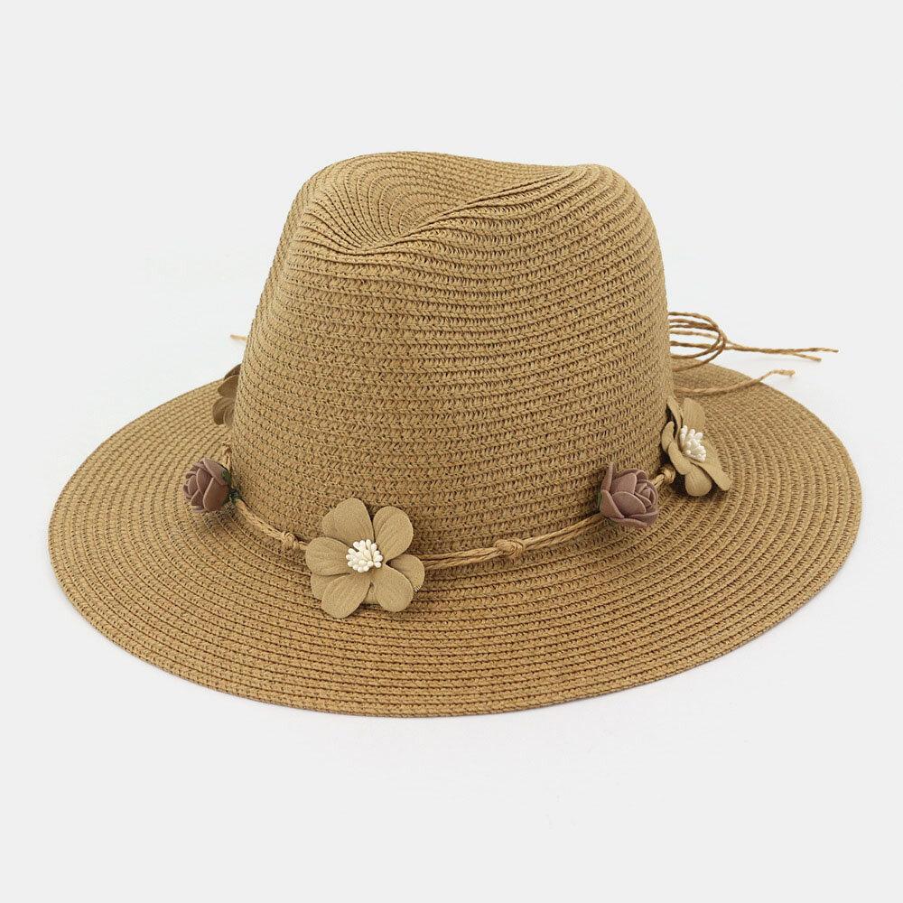 Women Flower Straw Hat Outdoor Beach Sunscreen Sun Hat
